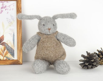 Bunny rabbit baby knitted toy, waldorf toy bunny, newborn photo prop, knit newborn toys, newborn photography prop, newborn baby shower gift
