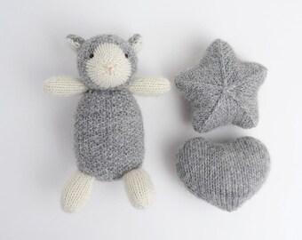 Little sheep, star and heart - knit newborn toys, newborn photo prop, baby photo prop, newborn photography prop, newborn baby shower gift