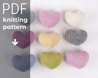 HEART TOY knitting pattern, knitted heart PDF tutorial instant download, newborn photo prop, knitted heart pdf pattern, photo prop pattern