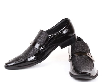 Mens Jacksin Hand Made Patent Leather Black Tie Shoes