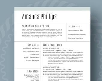 Modern Resume Template for Word 1-3 Page Resume Cover | Etsy