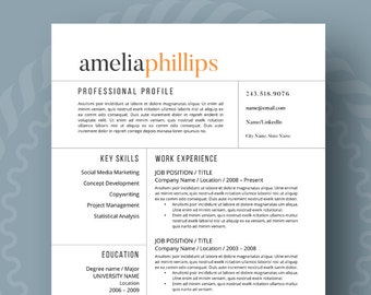 Modern Resume Template for Word, 1-3 Page Resume + Cover Letter + Reference Page | US Letter | A4 | Modern Cv Template | INSTANT DOWNLOAD