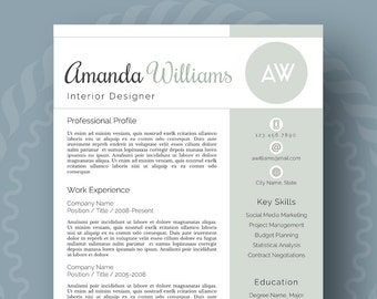 modern resume template for word 1 3 page resume cover letter reference page us letter instant download amanda