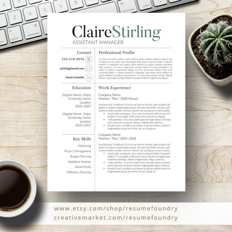 Modern Resume Template For Word 1 3 Page Resume Cover Letter Reference Page Us Letter Instant Download Claire