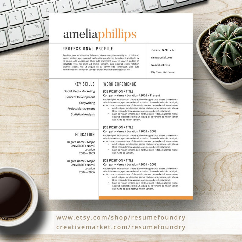 Modern Resume Template For Word And Pages 1 3 Page