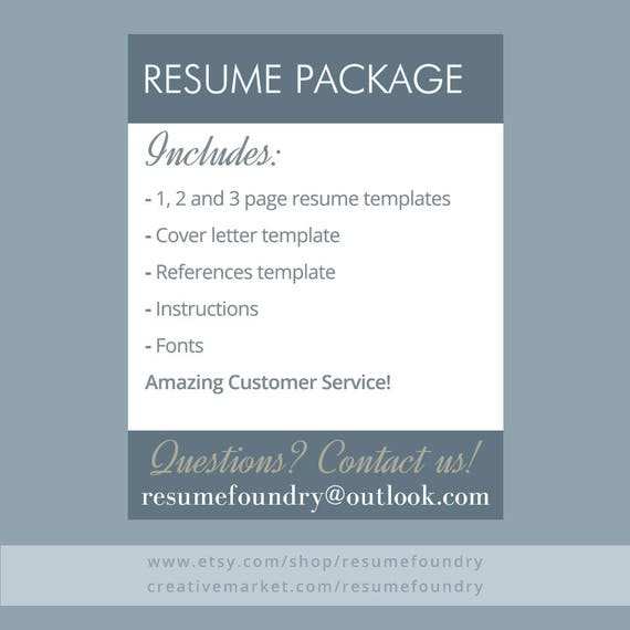 modern resume template for word 1 3 page resume cover etsy