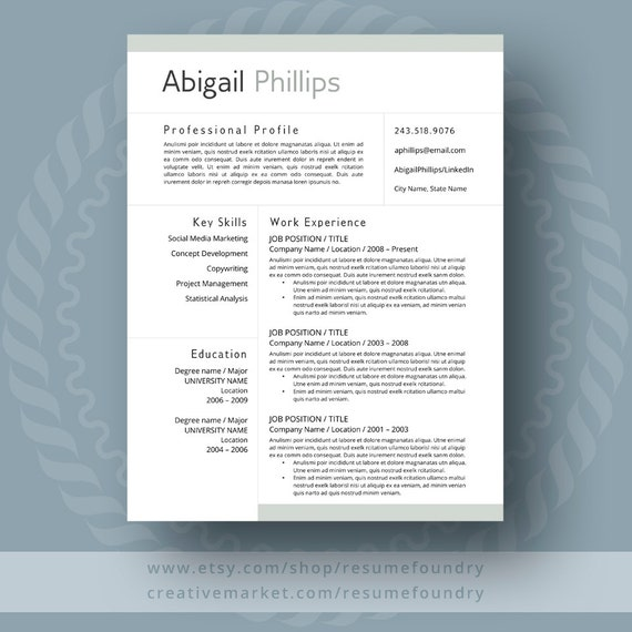 professional resume template for word 1 3 page resume cover etsy