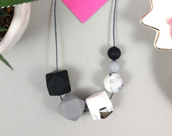 Black, Marble & Grey Silicone Necklace | Geometric necklace | Statement Necklace | Necklace for woman | Silicone beads | Gift for her