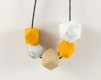 Baby Friendly Silicone Necklace - Mustard, Granite & Marble | New Mum Gift | Geometric Necklace | Baby Shower Gift | Soother | Geometric