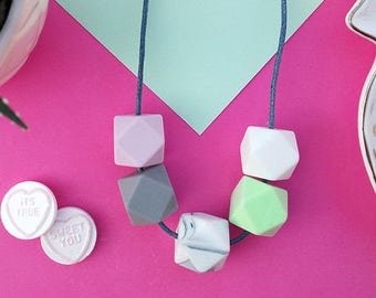 Silicone Teething Necklace - Mint, Lilac Marble Grey & White   Mother's day   New Mum Gift   Geometric Necklace   Baby Shower Gift   Soother