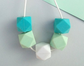 Silicone Teething Necklace - Turquoise White & Mint | Mother's day | New Mum Gift | Geometric Necklace | Baby Shower Gift | Soother