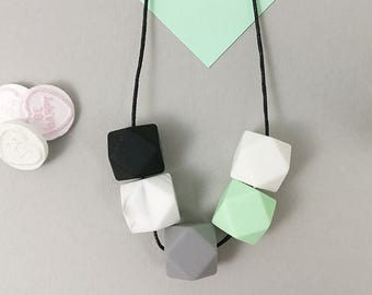 Silicone Teething Necklace - Mint, Black Marble Grey & White | Mother's day | New Mum Gift | Geometric Necklace | Baby Shower Gift | Soother