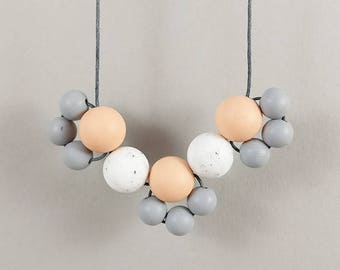 Baby Friendly Silicone Necklace - Peach Granite Grey    New Mum Gift   Geometric Necklace   Baby Shower Gift   Chewelry   Soother   Teething