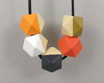 Geometric Necklace Orange White Grey | Statement Necklace | Gift for her | Geometric Jewellery | Beaded necklace | Minimalist necklace | Geo