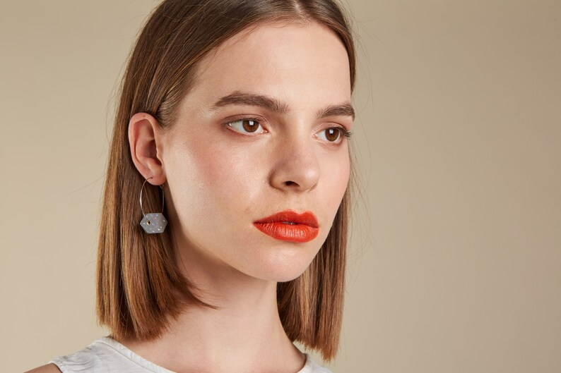 Geo Sterling Silver Geometric Piccadilly Line Hoop Earrings Gift for her Statement Earrings Hoops earrings London underground