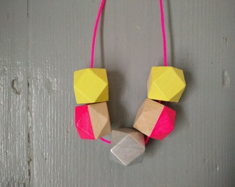 Geometric Necklace - Light Yellow, Silver & Neon Pink | Statement Necklace | Hand Painted necklace | Neon | Gift for her