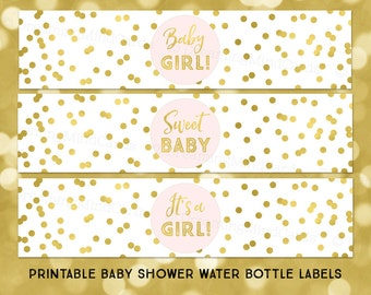 printable water bottle labels its a girl baby shower light blush pink gold confetti instant digital download