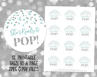 Printable Shes Ready To Pop Round Favor Tags Light Teal Blue Silver Glitter Confetti For Baby Shower Popcorn Instant Digital Download