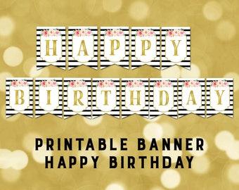 printable happy birthday banner rainbow confetti bunting etsy