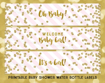 printable water bottle labels girl baby shower blush pink stripes gold confetti its a girl instant digital download