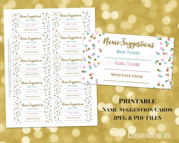 Name Suggestion Card For Baby Shower Printable Gold Pink Blue Etsy