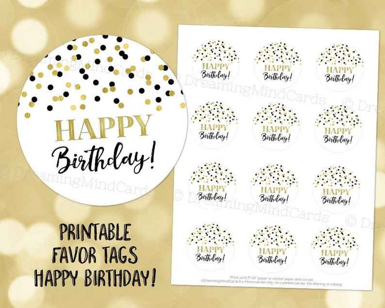 image relating to Printable Round Tags referred to as Printable Content Birthday Spherical Tags Black Gold Confetti Quick Electronic Obtain Labels Stickers or Tags