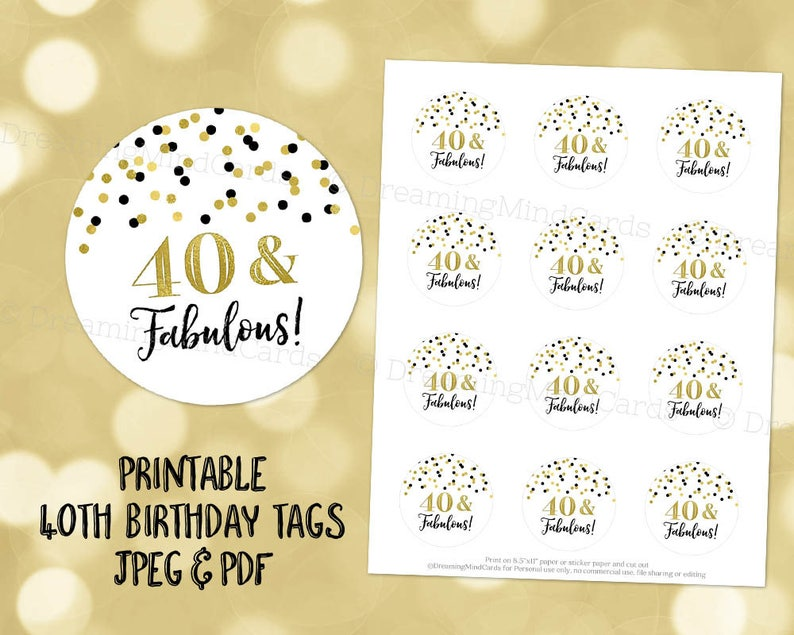 graphic regarding Printable Round Tags identified as Printable 40 and Magnificent 40th Birthday Spherical Tags Black and Gold Confetti Fast Electronic Down load Labels Stickers or Tags