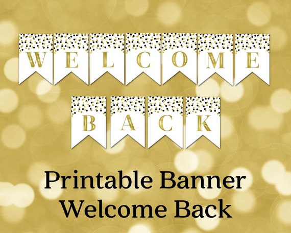 Printable Welcome Back Banner Black Gold Confetti Bunting Etsy