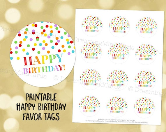 picture regarding Printable Round Tags called Printable Satisfied Birthday Spherical Tags Rainbow Confetti Prompt Electronic Down load Labels Stickers or Tags