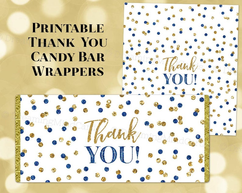 graphic about Printable Thank You Labels titled Printable Sweet Bar Wrapper Labels Thank By yourself Dim Blue and Gold Confetti Birthday Wedding day Child Shower Bridal Shower Electronic