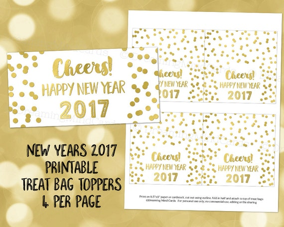 items similar to printable cheers happy new year 2017 treat bag toppers gold confetti instant digital download favor bag labels on etsy