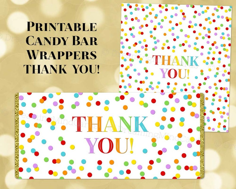 photograph about Printable Thank You Labels identified as Printable Sweet Bar Wrapper Labels Thank Yourself Rainbow Confetti Birthday Marriage ceremony Child Shower Little one Sprinkle Electronic