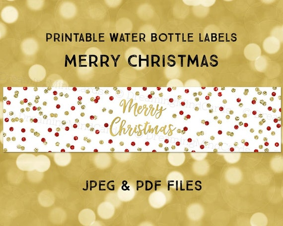 Printable Water Bottle Labels Merry Christmas Gold Red Glitter Etsy