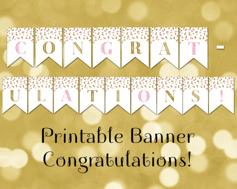 picture regarding Congratulations Banner Free Printable titled Printable Congratulations Banner Crimson Gold Confetti Bunting Quick Electronic Obtain Youngster Shower Birthday Commencement Bridal Shower