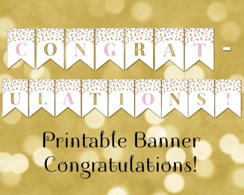 picture relating to Congratulations Banner Free Printable referred to as Printable Congratulations Banner Red Gold Confetti Bunting Quick Electronic Obtain Child Shower Birthday Commencement Bridal Shower