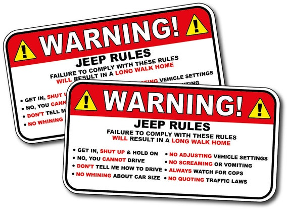 Warning Jeep Rules Instructions Safety Funny Adhesive Sticker Etsy