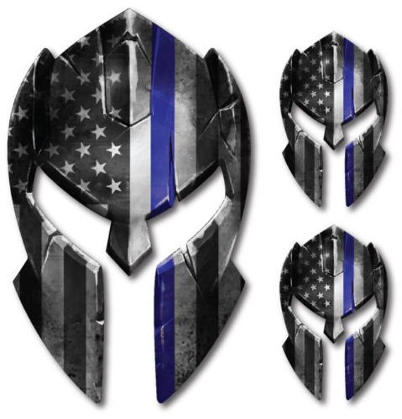 3 pack Thin Blue Line Punisher Skull Decal Sticker Car Truck Police Officer Cop
