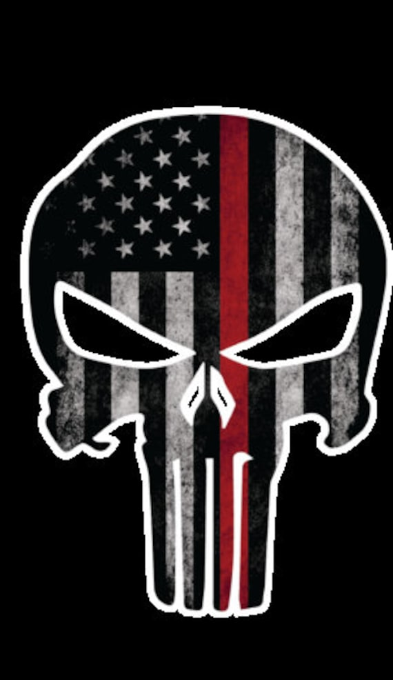 Firefighter Punisher Red line// Guns Coffee Punisher Various sizes Free Ship
