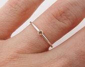 Dainty November Birthstone Ring, Sterling Silver Citrine Birthstone Ring, Minimalist Stackable Ring - Birthday Gift