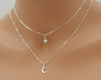 Mystic Celestial Moon Phases Star Silver Stacking Layering Charm Necklace
