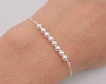 Pearl Bar Bracelet, Sterling Silver Bracelet, Tiny Pearl Bracelet, Swarovski Pearl Bracelet, Gift for Her 0308