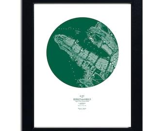 Printable Vintage Map Bergen 1864 Norway - Crocodile Green - Retro Art Poster