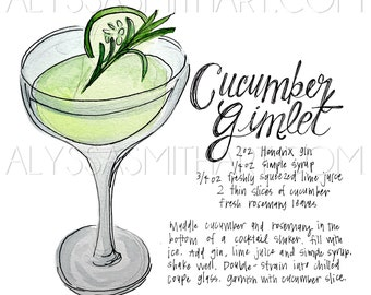 Cucumber Gimlet Drink Print