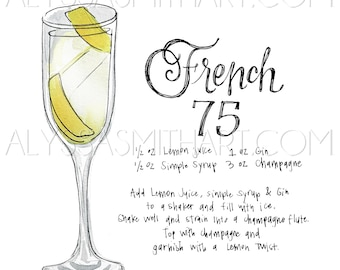 French 75 Drink Print
