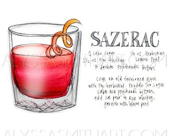 Sazerac Drink Print