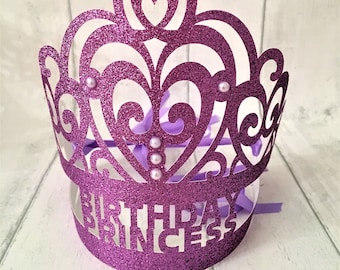 Birthday Party Crown, Customised Glitter Tiara, Party Favors, Cake Smash Photo Props