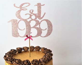 Est 1939 Cake Topper Established Centrepiece 80th Birthday Decor 80 Years Old Eighty Decorations Eightieth