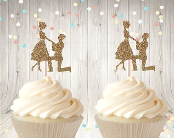 12 Proposal Cupcake Toppers, She Said Yes Cupcake Glitter Picks