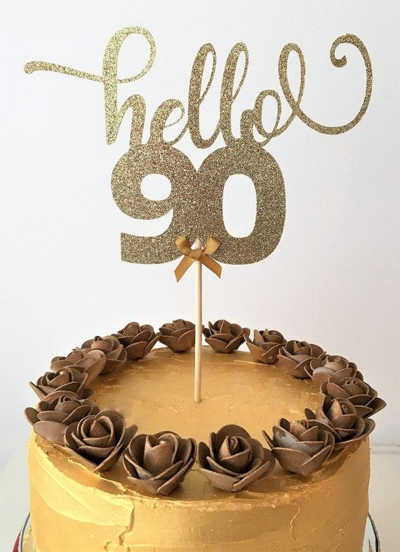Brilliant Hello 90 Birthday Cake Topper 90Th Birthday Glitter Topper Etsy Personalised Birthday Cards Veneteletsinfo