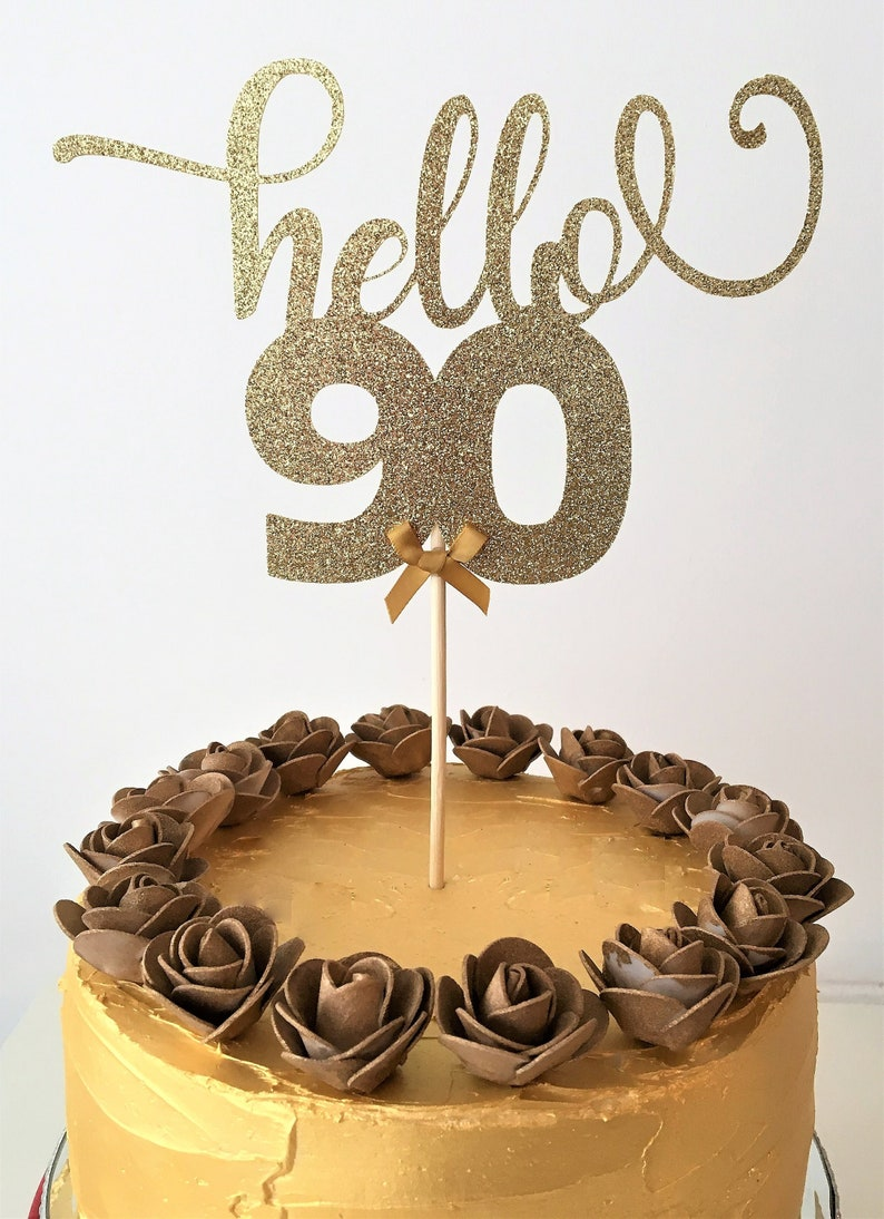 Hello 90 Cake Topper 90th Birthday Glitter Topper 90 Years